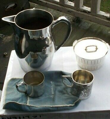 LOT Vintage Silverplate Pitcher Child's Cups Bucket Bristol Leonard Wilcox LOOK