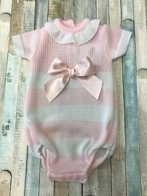 Baby Girls Knitted Spanish Style Romper Suit NB, 0-3 Months