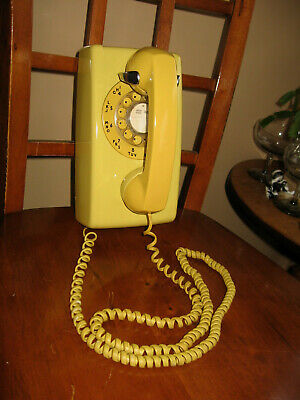 Vintage Western Electric Bell System Yellow Wall Rotary Dial Telephone 554 EUC