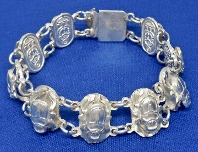 Antique Egyptian Scarab Solid Sterling Silver Beetle Small Bracelet