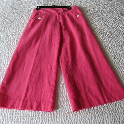 Lilly Pulitzer Wide Leg Pants Crop Size 2 culots  Pink Vintage Mid Rise Cotton S