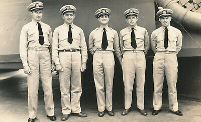 WWII 1943 USS New Mexico US Navy Group Photo five officers all ID'd