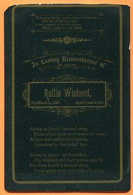 Memorial Card, Rollie Wisherd Died 1887 Age 3, In Loving Remembrance