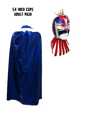 Adult Lucha Libre Halloween Costume Cape & Ultimo Dragon Blue Mask