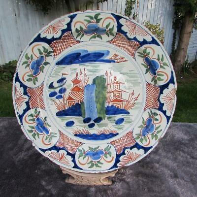 SUPERB LARGE 17thC / 18thC DUTCH DELFT POLYCHROME CHARGER - SIGNED