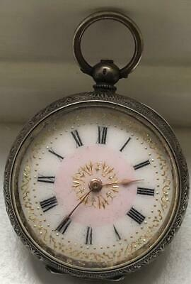 Beautiful Antique 935 Silver Small Pocket Watch Gilded & Enamelled Face.