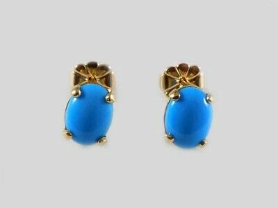 Gold Turquoise Earrings Antique 18thC 1 2/3ct Gem to Protect Medieval Travelers