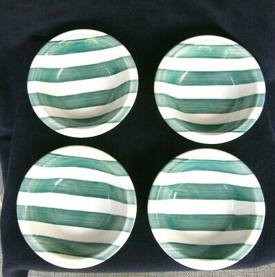"""4 Ceral Bowls Cabana Stripes 7"""" Green by Grindley Staffordshire England"""