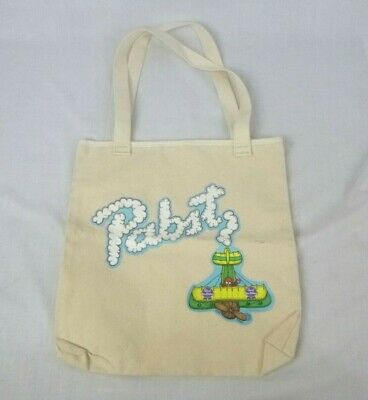 Vtg PBR Pabst Blue Ribbon Beer Canvas Tote Bag Biplane Skywriting 14""