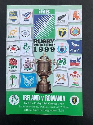 9620 - Rugby World Cup 1999 RWC - Ireland v Romania Programme 15/10/1999
