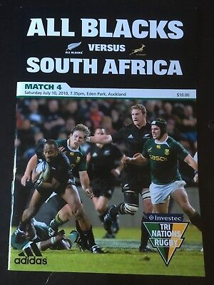 3242 New Zealand v SOUTH AFRICA 2010 Rugby Programme 10th July All Blacks 10/07