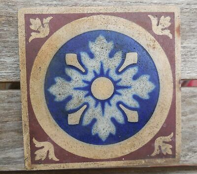 "Antique Minton Hollins & Co Encaustic Floor Tile 4 5/8"" x 4 5/8"" Tile"
