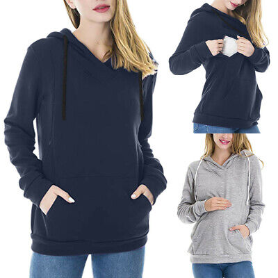 Women Pregnant Nursing Solid Long Sleeve Tops Maternity Hoodie Sweatshirt Blouse