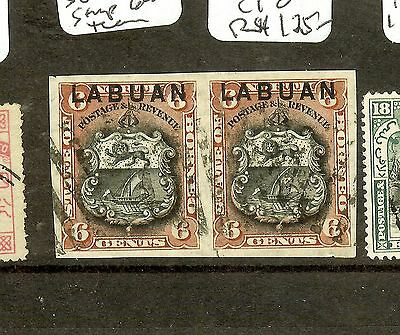 Labuan   (P2907B) 6C Arms Lion  Sg67A Imperf Pr, Closed Tear Rt Stamp Cto   Rare