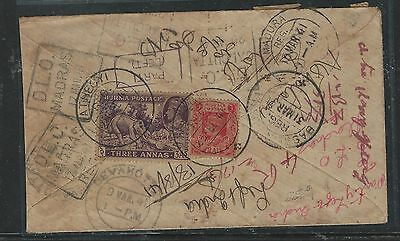 Burma (P2805B) Kgvi 1941 Reg Letter Dlo, Return To Sender , Great Postal Marking