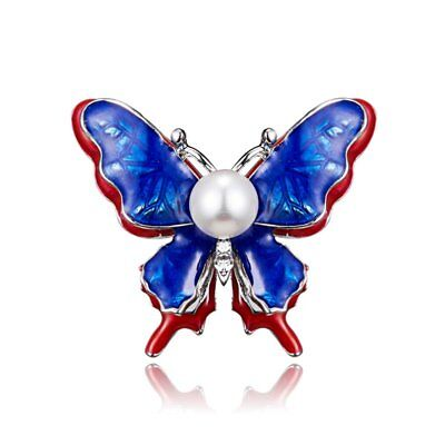 Women Men Unisex Butterfly Insects Brooch Pin Double Pearl Banquet Jewellery New