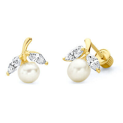 Wellingsale 14K Yellow Gold Polished 2.7mm Freshwater Cultured Pearl Diamond Cut Round Stud Earrings With Screw Back