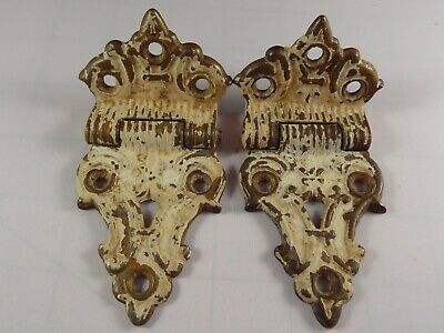 Vintage pair of antique Victorian solid brass icebox hinges painted