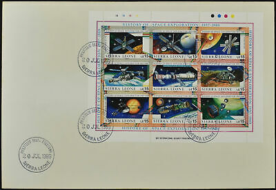 Sierra Leone 1989 History Of Space Exploration Sheetlet FDC #C54543