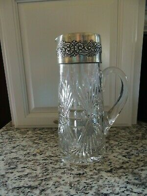 EAPG George Duncan Bassettown Pressed Glass Silver Plate Top Tankard Pitcher