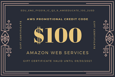 $100 AWS Amazon Web Services PROMOTIONAL Credit Code Lightsail EC2