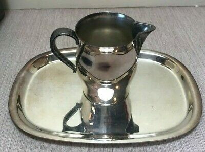 Paul Revere Reproduction SILVER TRAY w Creamer mini handled pitcher Wm. Rogers