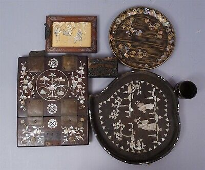 Antique Lot Asian Lacquer & Inlaid Objects incl Mother of Pearl & Abalone