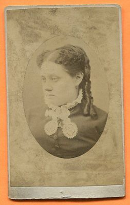 CDV Red Oak, IA, Portrait of a Young Woman, by Merriam, circa 1880s Backstamp