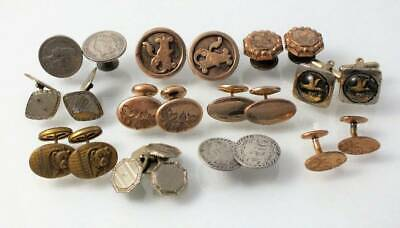 Victorian Antique Cuff Link Lot*Gold Filled Silver Etched Bulldog Hayward Glass