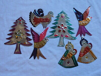 7 Mexican Folk Art Hand Punched Tin Painted Christmas Ornament Madonna Tree Bird