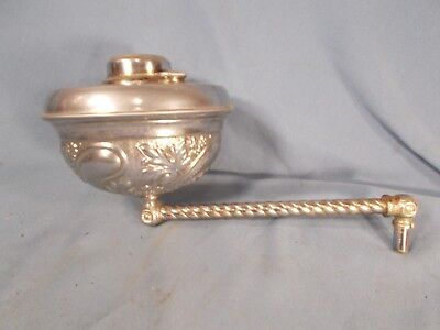 BRADLEY HUBBARD B&H signed Embossed Nickle over Brass WALL SCONCE Oil Lamp 1880s