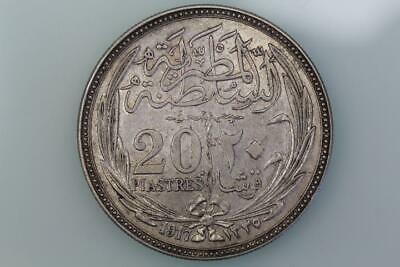 Egypt  20 Piastres Coin 1917 Km 321 Extremely Fine