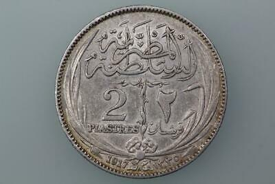 Egypt  2 Piastres Coin 1917H Km 317.2 Extremely Fine