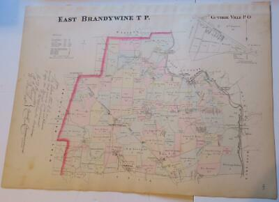 1883 Breou's East Brandywine Township,Chester County Colored Map,Railroad,Creek