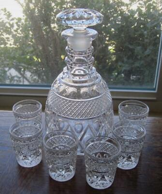 1932-64 Imperial Glass Cape Cod Seven Piece Whiskey Set-Decanter with 6 Shots