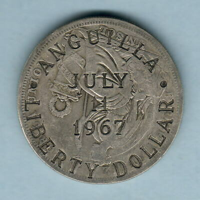 Anguilla. 1967 Liberty Dollar.. Counterstamped on Peru 1824 Sol.  C/S:VF, Host:F