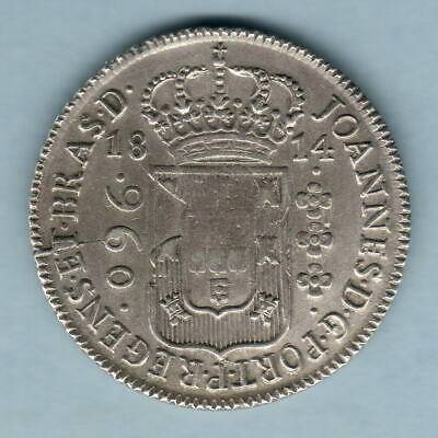 Brazil.  1814 960 Reis.. Struck on 8 Reales.. Parts of Host Coin Visible.. EF