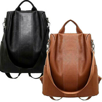 AU Women's Leather Anti-Theft Rucksack Backpack School Shoulder Bag Black/Brown