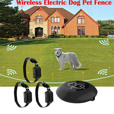US 3 In 1 Wireless Electric Dog Pet Fence Containment System Transmitter Collar