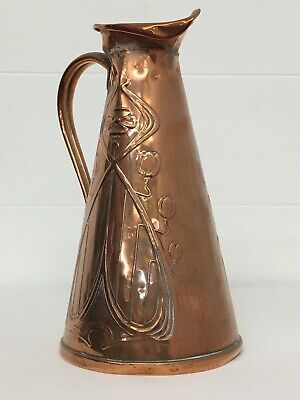 Beautiful Arts & Crafts * COPPER VASE * Jug/Urn * JOSEPH SANKEY * Art Nouveau
