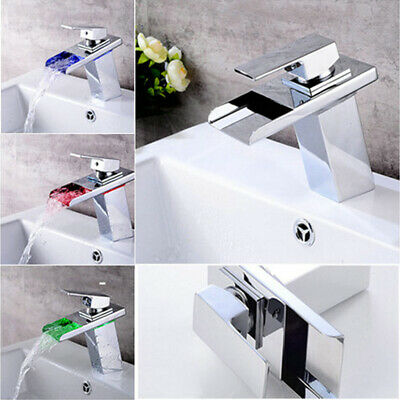 Bathroom LED Waterfall Basin Sink Faucet Chrome Single Lever Brass Mixer Tap