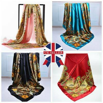Ladies Women Print Satin Square Head Scarves Shawls 90*90cm Bandana Large Hijab