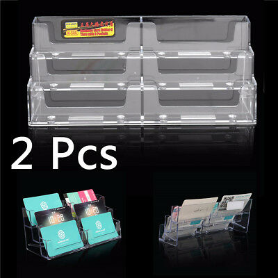 2PCS Acrylic 6 Pockets Desktop Business Card Holder Display Stand Desk Shelf