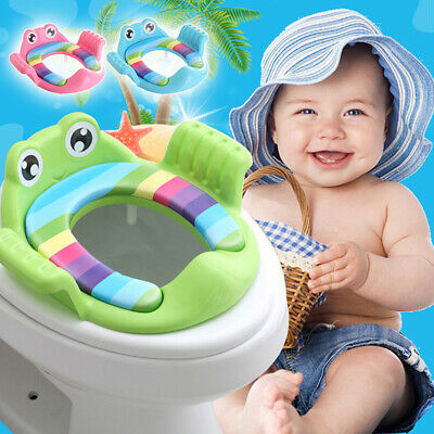 Toddler Toilet Seat Potty Training WC Seat Handle Cushion Frog Kids Baby Casual