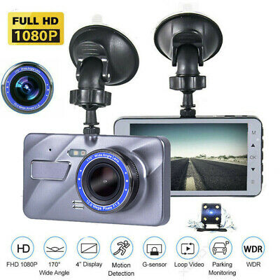 "4"" Car DVR 1080P HD Dual Lens Dash Cam Front and Rear Camera Video Recorder NEW"