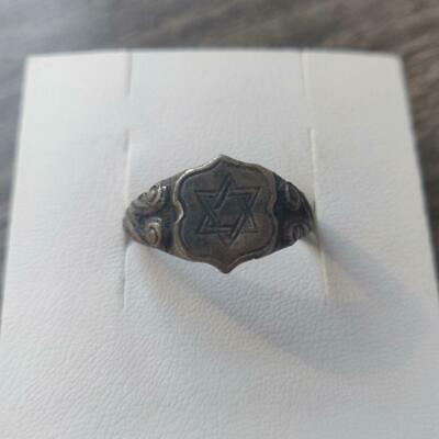 Medieval silver ring with image of Star of David ( Jewish symbol)