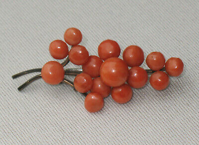 ANTIQUE CHINESE BROOCH 16 SALMON CORAL ca. 1840 wonderful RARE good condition