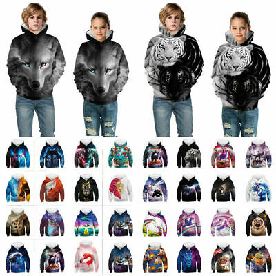 Boys/Girls Animal 3D Printed Hoodies Sweatshirt Children Hooded Pullover Jumpers