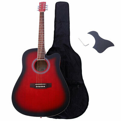 Glarry GT502 41 inch Spruce Front Cutaway Acoustic Folk Guitar with Bag Tool New