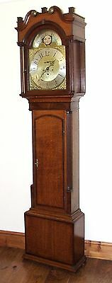 Antique Rolling Moon Oak & Mahogany Longcase Grandfather Clock MOYLE CHESTER